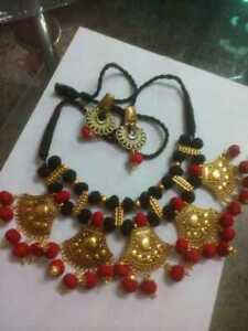 Traditional Artistic Handmade Choker Oxidized Necklace with Earrings