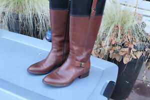 ARIAT RM KNEE HIGH BROWN LEATHER WITH BLACK TRIM KNEE HIGH BOOTS SZ 8 B EUC