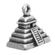 Sterling Silver  925 New Mayan Pyramid Charm For Bracelet Or Necklace Pendant