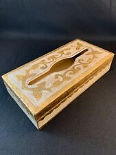 Hand Painted Wood Florentine Tissue/Kleenex Holder/Box~White & Gold