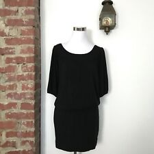 Vince. Black Blouson Dress Womens Size XS Black 3/4 Sleeve Pleated Neckline LBD