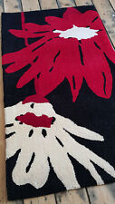 Hand tufted, 1.5cm thick quality Black Red floral design mat 60x110cm rug.