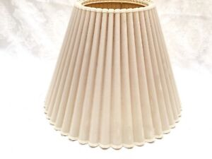 "15"" dm x 10"" high vintage F. COOPER Off-White Fabric Lamp Shade ivory pleated"