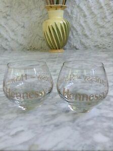 2 Hennessy Cognac Glasses Gold monogram logo