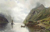 "Stunning Oil painting Norsk fjord landskap beautiful landscape & sail boat 36"""