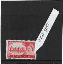 """GB 1968 5/- RED CASTLE """"RED SPOT ON QUEEN'S SHOULDER"""" ERROR,VARIETY MNH"""