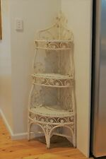 Vintage Peacock Cane Wicker Shelving Corner Unit Display Rattan Split Cane