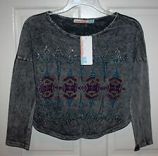NWT Girls Vintage Havana $62 Long-Sleeve Gray Multi-Color Shirt Size Large