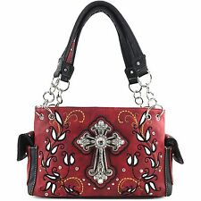 Western Purse Rhinestone Cross Chain Strap Carved Design Shoulder Handbag Red