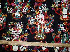 Cotton Fabric Alexander Henry The Tree of Life Skeleton Floral hearts BLACK BTY