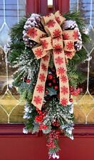 Christmas Door Wreath Berries White Snow Swag Snowy Christmas Lodge Wreath