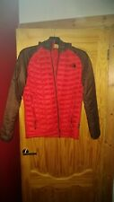 MEN'S THERMOBALL HOODED JACKET..... THE NORTH FACE, MEDIUM, RED&BROWN