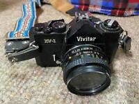 Black Vivitar XV-1 SLR Film Camera with 3 Lens- 50mm f/2.0 + 135mm 3.5 +28mm 2.8