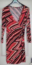 George Women's Dress,Wrap,Plunge Neck,Midi,Pink Stretch,Zig-Zag Size 14,Free P&P