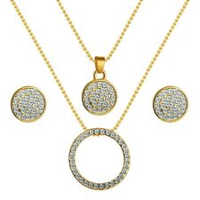 Classic Necklace Earrings pendant jewellery Women Gold Color Austrian Crystal