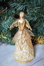 Gisela Graham Cream/Gold Resin/Fabric Rose Fairy Christmas Tree Topper