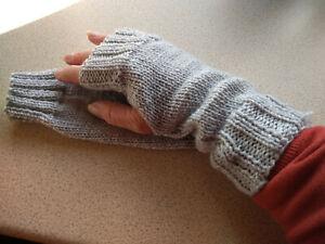 Hand Knitted Wrist Warmers, Fingerless Gloves, Mittens.  Silver grey