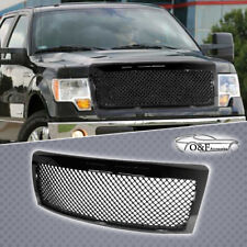 For 09 14 Ford F150 Bentley Style Front Upper Hood Mesh Grill Gloss Black Grille
