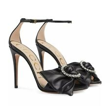 GUCCI Black Ilse Crystal Bow 115 Leather Heels Size 40, US 10 $950 *