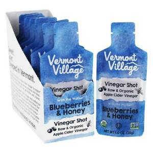 Vermont Village Organic Apple Cider Vinegar Shots Mother Blueberries Honey 12 ct