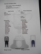 1893-94 F A Cup Final Notts County v Bolton Wanderers Matchsheet