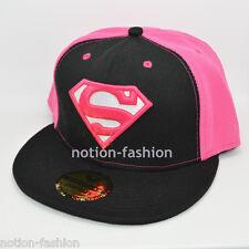 New Superman hiphop Snapback Adjustable baseball cap flat hat Black Pink adult