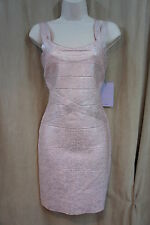 JS Collections Dress Sz 4 Pink Silver Sleeveless Body Con Evening Cocktail Party