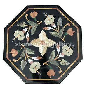 """18"""" Black Marble Coffee Table Top Marquetry Inlay Floral Art Handmade Decor B152"""
