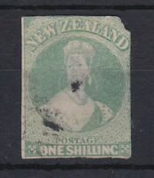 NZ38) New Zealand 1857 1/- Blue Green Imperf. Chalon Head, SG17.
