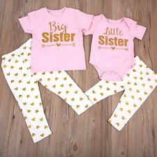 US Big /Little Sister Matching Clothes Kids T-shirt Romper+Long Pants Outfits