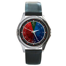 Circle of Fifths Musician Music Colorful Black Leather Band Watch