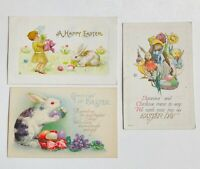 3 Antique Postcards Colorful Happy Easter Day Bunnies Chicks Eggs Flowers