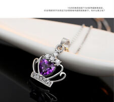925 Sterling Silver Crystal Crown Pendant Necklace Women Fashion Jewelry
