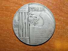 Italy 1928 silver 20 Lire coin Fine nice SCARCE
