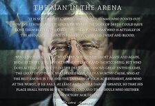 Theodore Teddy Roosevelt the Man in the Arena Quote 13x19 Poster (American Flag)