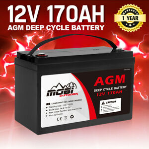 170AH 12V AGM Deep Cycle Battery Golf Cart Buggy Camping Scooter Solar Battery