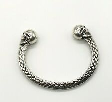 Hallmarked Heavy 925 Sterling Silver Skull Bangle Mens Or Womens UK