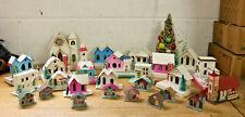 Vintage Lot Glitter Holiday Putz House Christmas Village & Accessories, Japan