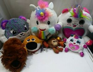 Mixed Lot of 7 Plush Stuffed Animals Disney Universal Pikmi Pop Unicorns Pets 2