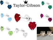 925 Sterling Silver Heart Earrings Studs Small Kids Ladies Swarovski Elements