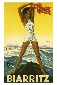 BIARRITZ FRANCE vintage travel poster SEXY WOMAN ocean COLLECTORS 24X36 rare