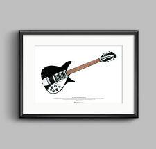 John Lennon's 1964 Rickenbacker 325 Capri guitar ART POSTER A2 size