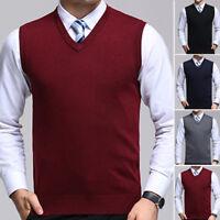 De Punto Cálido Camiseta Tirantes Hombre Jersey Suéter Chaleco Llano Cuello en V