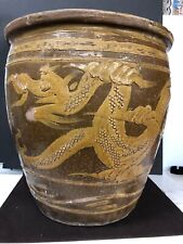 Antique Chinese Glazed Ceramic Pottery Dark & Light Brown Dragon Jardinière