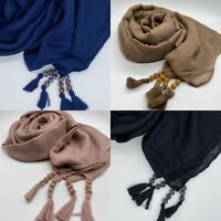 Tassel Shambala Plain Scarf Hijab Sarong Large Cotton Maxi Shawl Wrap Maxi