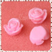 4 Roselline ROSA LUCIDE ROSE PERLINE PERLE FIORI IN RESINA CABOCHON 1,5 CM CO...