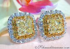Reinheit VVS Echter Diamanten-Ohrschmuck im Ohrstecker-Stil aus Gelbgold mit Brilliantschliff