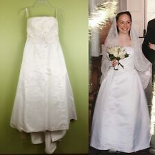 Strapless Satin Wedding Gown Beaded Bodice Sz 6