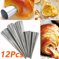12x Stainless Spiral Horn Cream Pastry Roll Baking Croissant Bread Cake Mold Kit