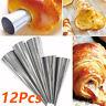 12x Stainless Spiral Horn Cream Pastry Roll Baking Croissant Bread Cake Mold Kit